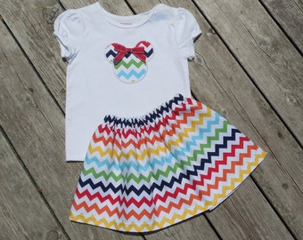 Girl's Skirt & Shirt Outfit - Rainbow Chevron Skirt with Personalized Minnie Mouse Shirt