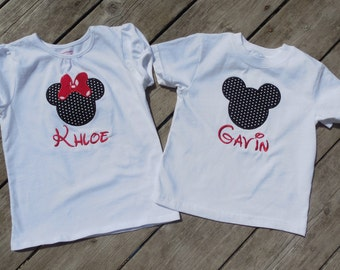 Brother and Sister Personalized Disney Shirts - Girls Minnie Mouse Ears - Boys Mickey Mouse Ears