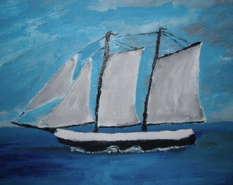 Original Sailboat acrylic Painting / nautical painting - 11x14 inch Canvas Panel