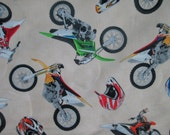 Motocross Motorcycle Dirt Bike Helmets Cream Cotton Fabric Fat Quarter or Custom Listing
