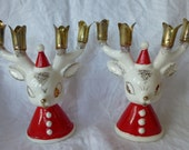 Vintage Holt Howard Christmas Reindeer in Santa Suits candle holders Whimsical for 8 tiny candles