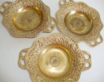 Brass Trays, Three Ornate Brass Trays, Three Small Trays, Trinket Trays