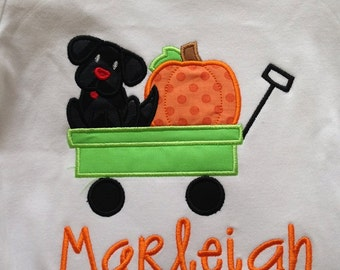 Wagon, Puppy & a Pumpkin Custom boutique appliqued monogrammed personalized, boys, girls, t shirt, one piece w/snaps, thanksgiving, fall