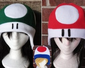 Mario Mushroom 1 UP and Toadstool Hat - Adult-Teen-Kid - A winter, nerdy, geekery gift!