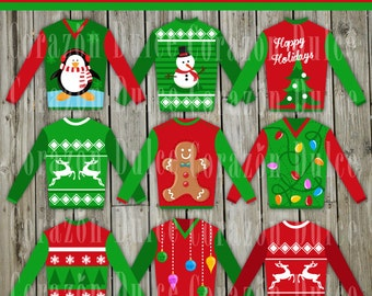 Ugly Christmas Sweaters images - Personal and Commercial Use Clip Art- INSTANT DOWNLOAD