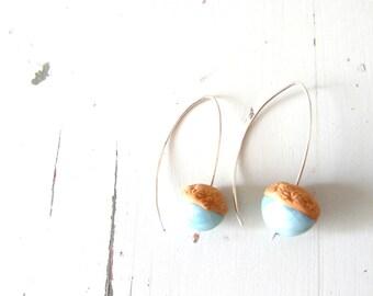 Acorn earrings , Gold and Turquoise earrings , sterling silver hoop earrings , natural  earrings