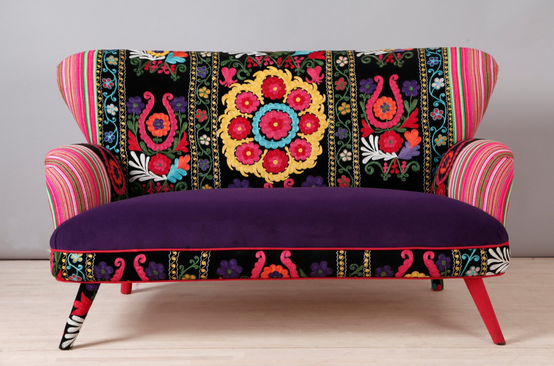 Suzani 2 Seater Sofa Purple Sun
