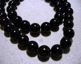 Black Stone Beads Gemstone  Black Round 8MM