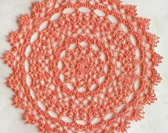 Crochet Doily Handmade Vintage Tabletop Decoration Accessory Tangerine