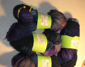 Hand-Painted Yarn,  #4 Medium 100% Superwash Merino, Wool Yarn, One Skein
