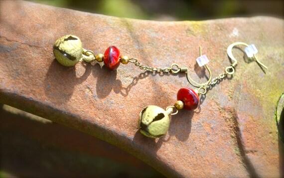 Golden Bells Earrings handmade gift long delicate red glass and vintage brass bell
