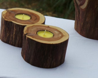Log Candle Holders, Rustic Home Decor, Valentines Day Gift For Her, 2 pc