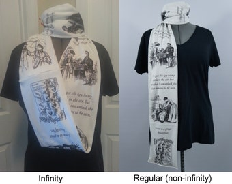 Louisa May Alcott's Little Women KNIT scarf - Regular or Infinity style available - made to order
