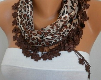 ON SALE - Brown Leopard Cotton Scarf, Summer Shawl,Wedding Scarf, Cowl Gift Ideas For Her Women Fashion Accessories best selling item scarf