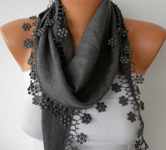 ON SALE - Gray Scarf  - Spring Scarf  Pashmina Scarf  -  Cowl with Lace Edge - best selling item scarf Women's Fashion Accessories