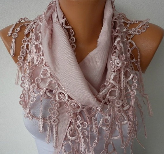 Dusty Pink  Scarf  -   Pashmina Scarf  Cowl Scarf with Lace Edge - bridesmaids gift - fatwoman