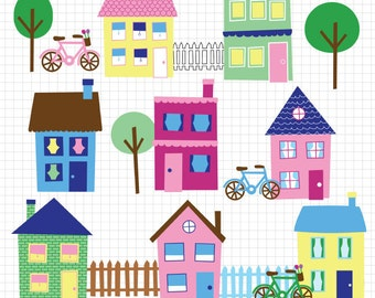 House Clip Art Neighborhood Clipart Town Clip Art Downloadable Images Clipart Instant Digital Download Graphics