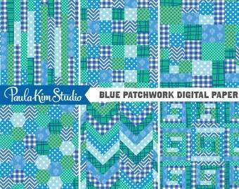 80% OFF SALE Blue Patchwork Digital Paper Downloadable Images Digital Clip Art Commercial Instant Download Graphics