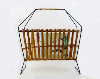 Vintage Magazines Rack Holder Metal Wood and Bambu