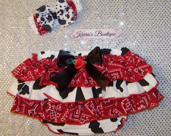Cowgirl Set / Ruffle Diaper Cover / Headband / Cow / Western / Rodeo / Newborn / Infant / Baby / Girl / Toddler / Custom Boutique Clothing