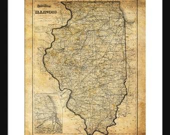 Illinois Map 1871 Vintage Print Poster Grunge