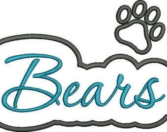 Bears with Paw Applique Script