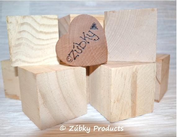 "Natural Wooden Block Set by Zúbky - 2"" Ten Piece Set - Waldorf Inspired Wooden Toys"