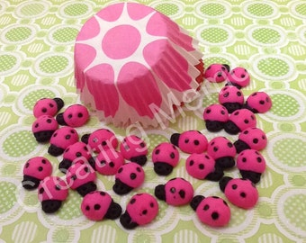 Pink Ladybugs Cupcake Topper/Cake Decorations/Cookies or Cake Pops made of Vanilla Fondant -You can Choose  the Color and Quantity you need