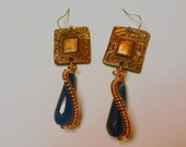 Bronze PMC Handcrafted Earrings with Natural Blue Agate and Sterling Silver Wires
