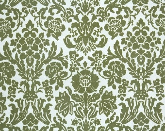 Retro Flock Wallpaper by the Yard 70s Vintage Flock Wallpaper - 1970s Olive Green Flock Damask