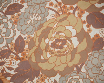 Retro Wallpaper by the Yard 70s Vintage Wallpaper - 1970s Brown Orange and Gray Large Roses and Daisies Floral