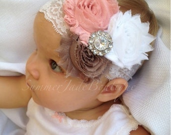 Baby headband - white lace baby headband