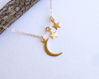 Gold Moon and Two Stars Necklace --  Vermeil and 14k Gold filled -- Mothers Necklace  -- Friendship
