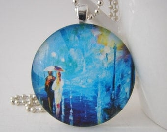 1.5 inch Walking in the Rain Glass Tile Pendant with Free Necklace