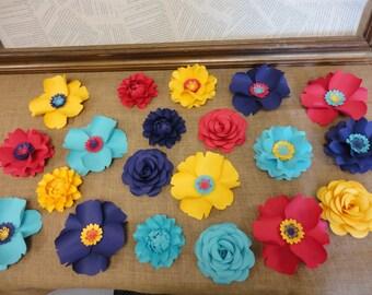Medium Paper Flowers set of 20 flowers - Rose Poppy Peony  - Decor Backdrop