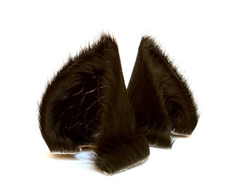 Black Fur Leather Wolf Dog Fox Ears Inumimi Kitsune Fairy Cosplay Furry Goth Fantasy LARP Costume Pet Play