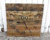 LARGE Wall Clock. PERSONALIZED WEDDING Date. 5 Year Anniversary Gift. Rustic yet Modern. Reclaimed Pallet Wood custom. Repurposed Wood.