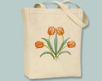 Gorgeous Orange, Peach Vintage Tulips Illustraiton Tote -- Selection of sizes availablle