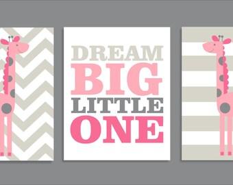 Giraffe Dream, Giraffe Decor, Nursery Art Prints, Nursery Decor, pink-  Set of three prints