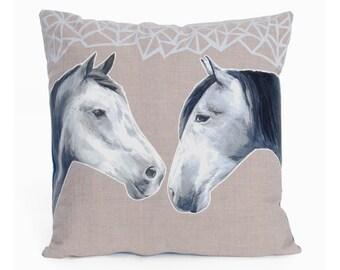 Horses Cushion - handmade applique silk cushion