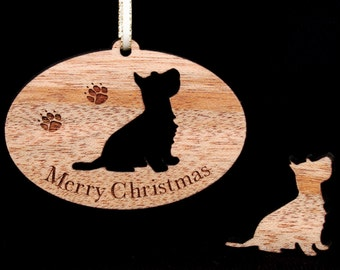 Scottish Terrier, Wood Ornament. Christmas Tree Ornament