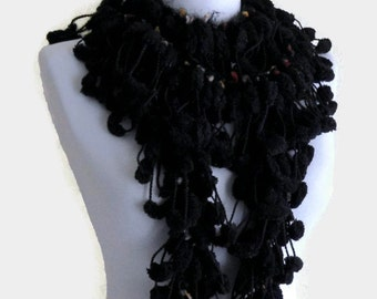 Black scarf, pompom scarf, Holiday Accessories, Christmas, Halloween, Shades of Black curly mulberry long crochet scarf