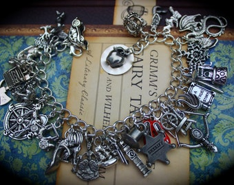 Fairy Tales Theme Charm Bracelet - Story Book Characters - Snow - Witch - Charming - Dwarfs - Fairy - Hook - True Love - Fantasy - Magical