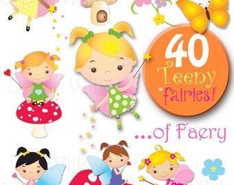 ULTIMATE TEENY FAIRY pack  - 40 piece digital clip art value pack, in high resolution, Png digital art files.