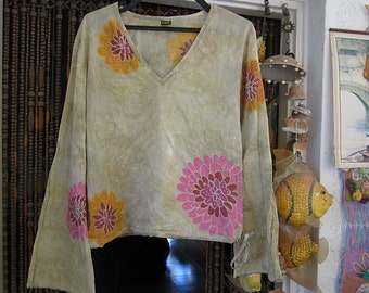 Bohemian Cotton Blouse with Long Flaring Sleeves and Adjustable Waist, Vintage - Medium