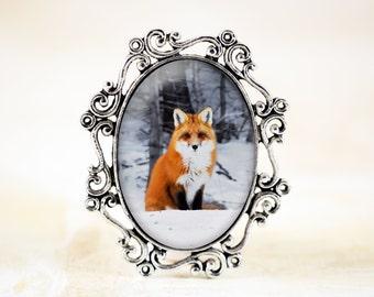 Fox Brooch Pin - Sitting Fox Photo Jewelry, Silver Fox Jewelry, Red Fox Jewellery, Wildlife Jewelry, Fox Animal Brooch, Red Fox Pin
