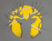 Paper Cut Deer with antlers, grey in yellow circle, 8.3 x 11.7 inches