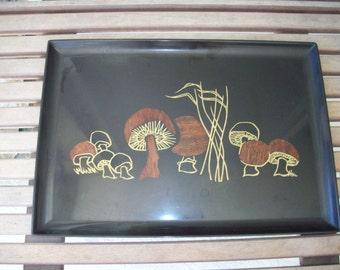 Large Mushroom Wood Inlaid Couroc Tray