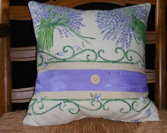 Provence Lavender Bunches with Moire Ribbon Crochet Button Pillow (1290)