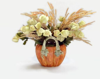 Fall Arrangement, Pumpkin Arrangement, Lantern Flowers In Pumpkin, Fall Decor, Home Decor, Ceramic Pumpkin Container, Pumpkins Vases